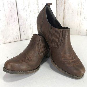 Big Buddha Willo Western Ankle Booties Brown